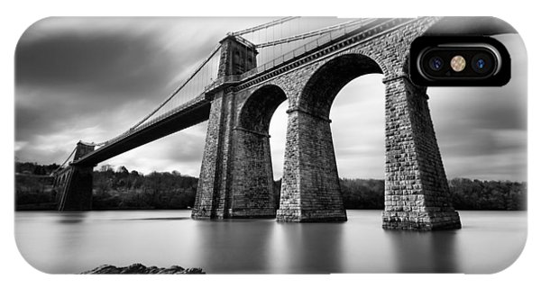 Monochrome iPhone Case - Menai Suspension Bridge by Dave Bowman