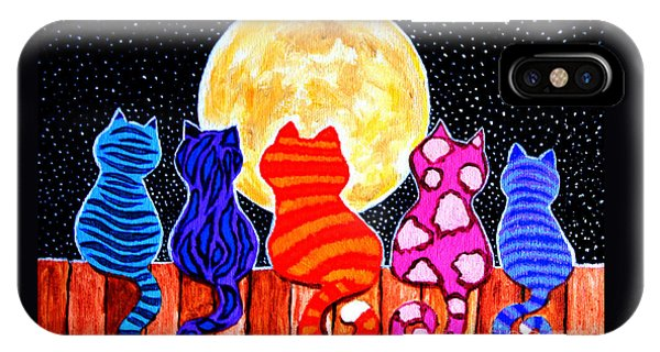 Colorful iPhone Case - Meowing At Midnight by Nick Gustafson