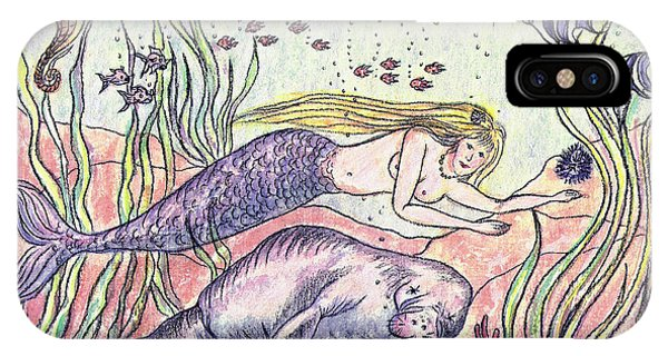 Mermaid And The Manatee IPhone Case