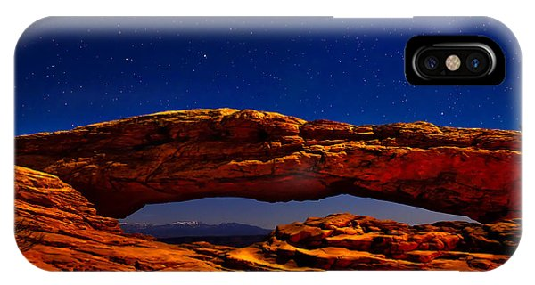 Mesa Arch Night Sky With Shooting Star IPhone Case