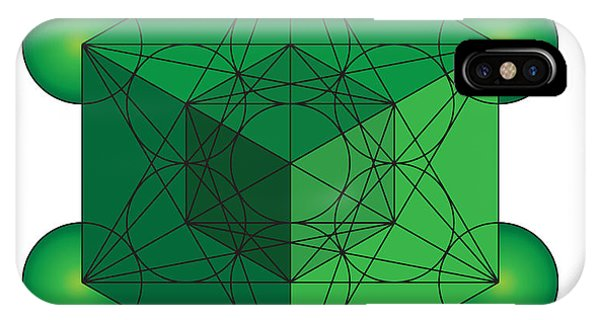 Metatron's Cube In Green IPhone Case