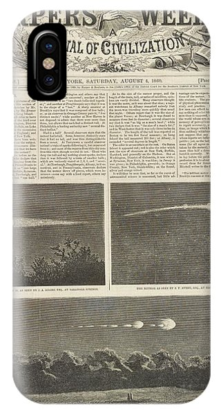 July 4 iPhone Case - Meteor Procession Of 20 July 1860 by Library Of Congress
