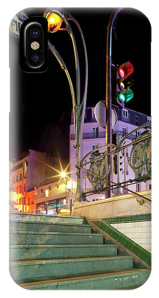 Paris Metro iPhone Case - Metro Stop Lit Up At Night, Metro by Panoramic Images