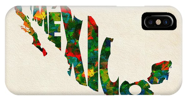 Mexico Typographic Watercolor Map IPhone Case