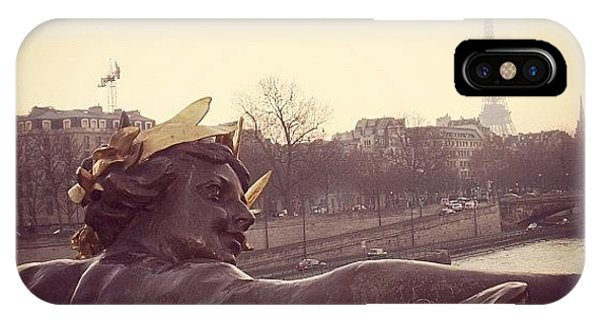 Picoftheday iPhone Case - #mgmarts #france #paris #statue #bridge by Marianna Mills