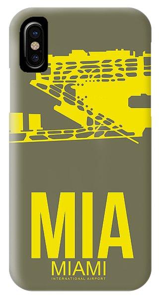 Miami iPhone Case - Mia Miami Airport Poster 1 by Naxart Studio