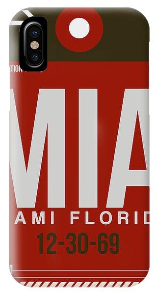 Miami iPhone Case - Mia Miami Airport Poster 4 by Naxart Studio