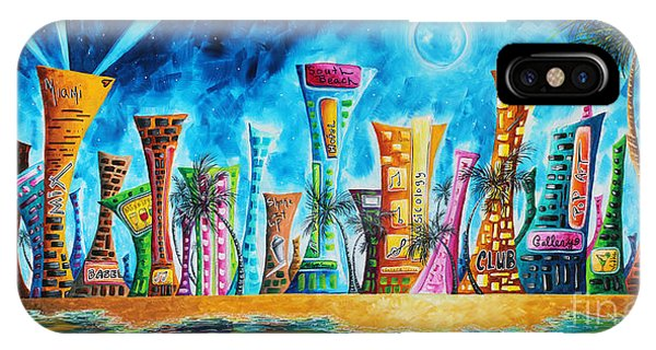Miami City South Beach Original Painting Tropical Cityscape Art Miami Night Life By Madart Absolut X IPhone Case