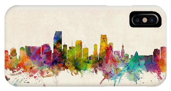 Watercolour iPhone Case - Miami Florida Skyline by Michael Tompsett