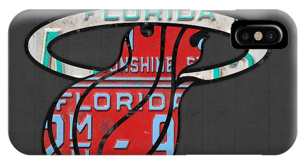 Basketball iPhone Case - Miami Heat Basketball Team Retro Logo Vintage Recycled Florida License Plate Art by Design Turnpike