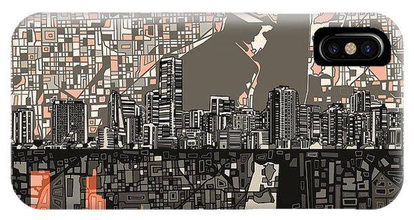 Miami Skyline iPhone Case - Miami Skyline Abstract 2 by Bekim Art