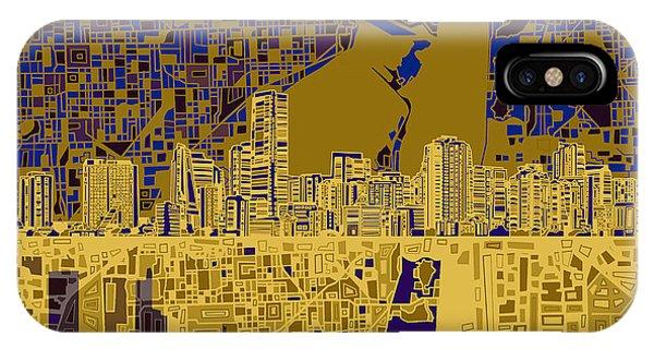 Miami Skyline iPhone Case - Miami Skyline Abstract 3 by Bekim Art