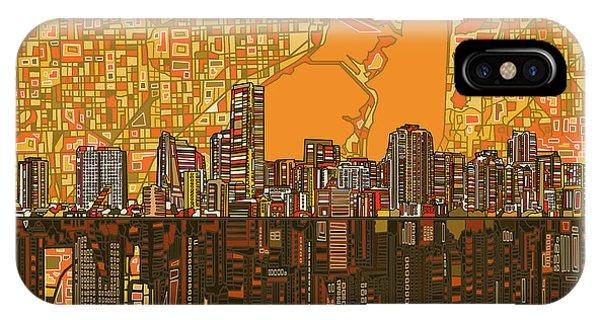 Miami Skyline iPhone Case - Miami Skyline Abstract 5 by Bekim Art