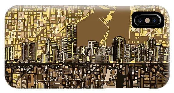 Miami Skyline iPhone Case - Miami Skyline Abstract 6 by Bekim Art