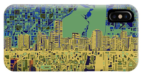 Miami Skyline Abstract 7 IPhone Case