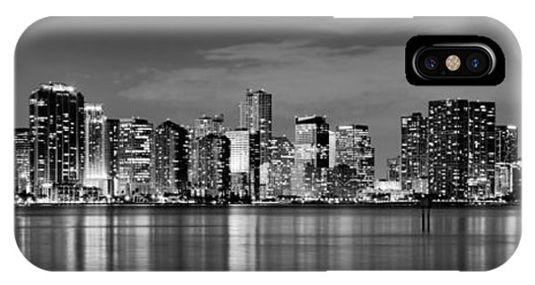 City iPhone Case - Miami Skyline At Dusk Black And White Bw Panorama by Jon Holiday