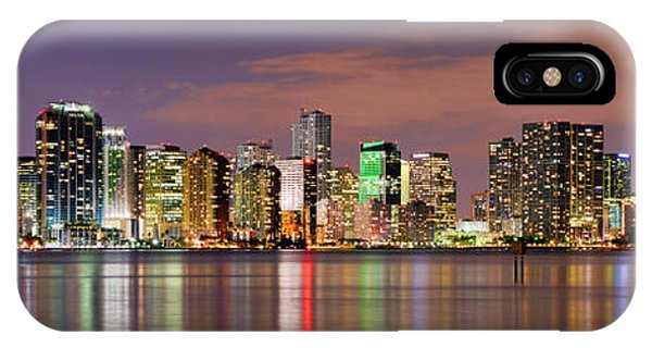 City iPhone Case - Miami Skyline At Dusk Sunset Panorama by Jon Holiday