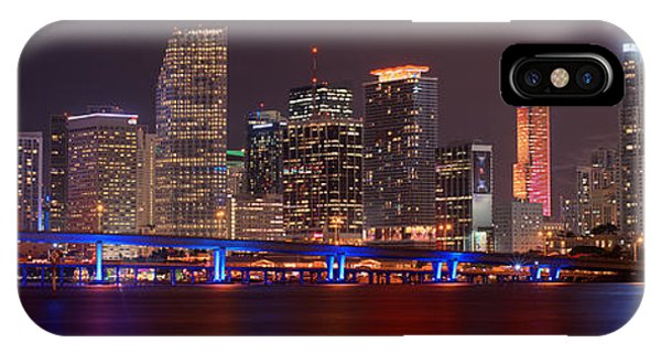 Miami Skyline iPhone Case - Miami Skyline At Night Panorama Color by Jon Holiday