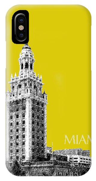 Miami Skyline iPhone Case - Miami Skyline Freedom Tower - Mustard by DB Artist