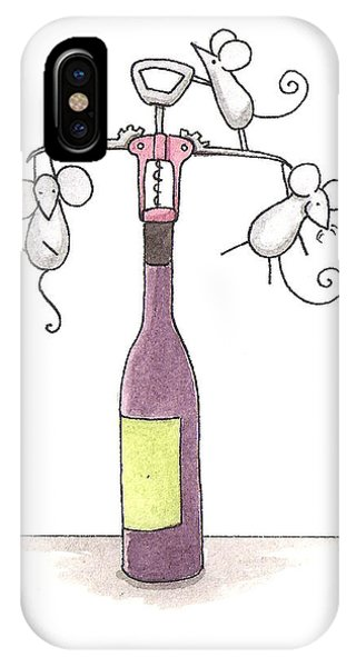 Mice With Wine Phone Case by Christy Beckwith