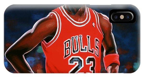 Red iPhone X Case - Michael Jordan by Paul Meijering