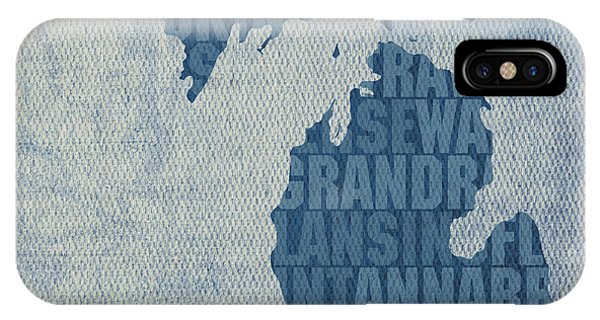 Great Lakes iPhone Case - Michigan Great Lake State Word Art On Canvas by Design Turnpike