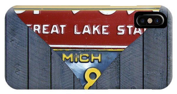 Marquette iPhone Case - Michigan Love Heart License Plate Art Series On Wood Boards by Design Turnpike