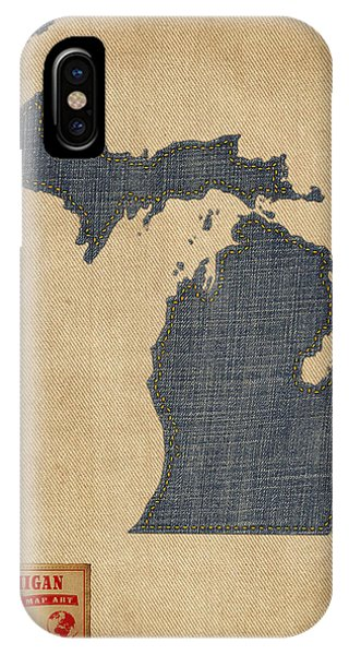 Map iPhone Case - Michigan Map Denim Jeans Style by Michael Tompsett