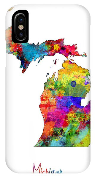 Usa iPhone Case - Michigan Map by Michael Tompsett