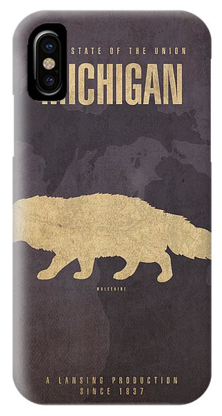 Minimalist iPhone Case - Michigan State Facts Minimalist Movie Poster Art  by Design Turnpike