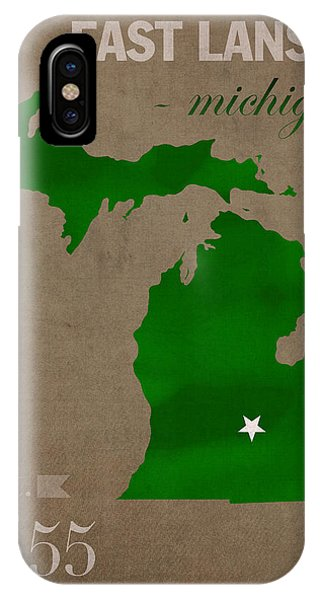 Michigan State University Spartans East Lansing College Town State Map Poster Series No 004 IPhone Case