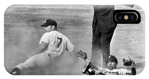 Monochrome iPhone Case - Mickey Mantle Steals Second by Underwood Archives