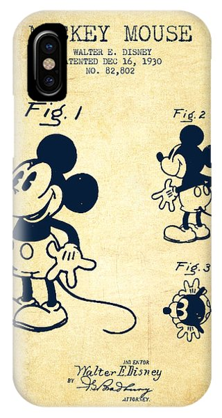 Patent Drawing iPhone Case - Mickey Mouse Patent Drawing From 1930 - Vintage by Aged Pixel