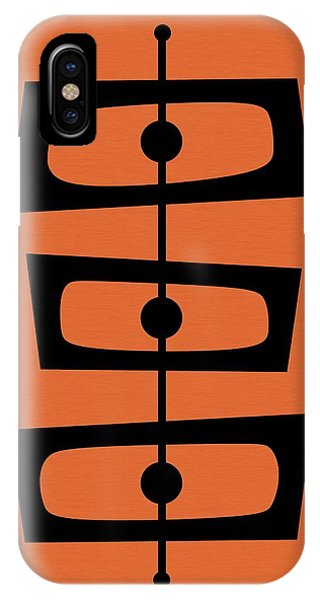 Mid Century Shapes On Orange IPhone Case