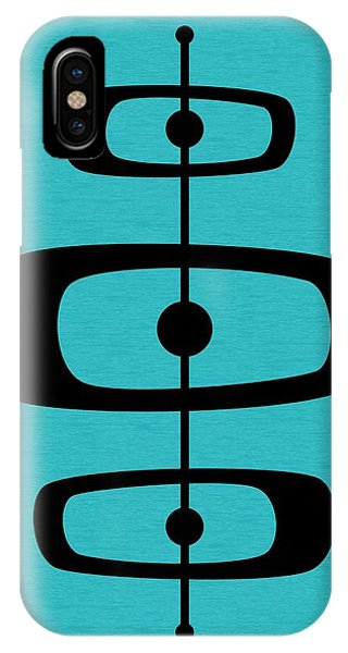 Mid Century Shapes 2 On Turquoise IPhone Case