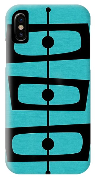 IPhone Case featuring the digital art Mid Century Shapes On Turquoise by Donna Mibus