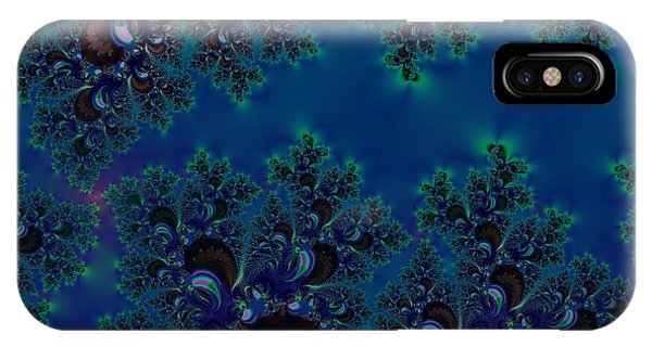 Midnight Blue Frost Crystals Fractal IPhone Case