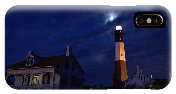 Midnight Moon Over Tybee Island IPhone Case