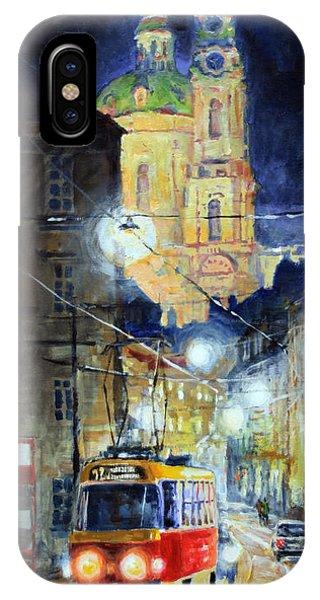 Street Light iPhone Case - Midnight Tram  Prague  Karmelitska Str by Yuriy Shevchuk