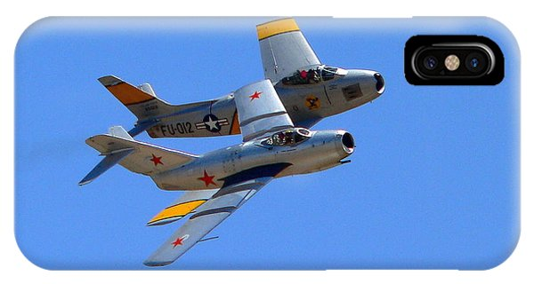 IPhone Case featuring the photograph Mig 15 And F86 Sabre by Jeff Lowe