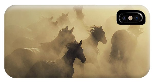 Dust iPhone Case - Migration Of Horses by H??seyin Ta??k??n