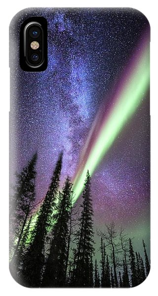 Milky Way And The Aurora Borealis IPhone Case