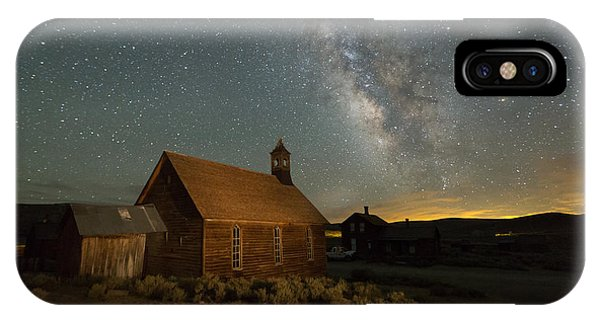 Bodie Ghost Town iPhone Case - Milky Way Over Bodie Church by Jeff Sullivan