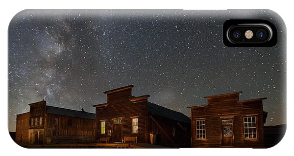 Bodie Ghost Town iPhone Case - Milky Way Over Downtown Bodie by Jeff Sullivan