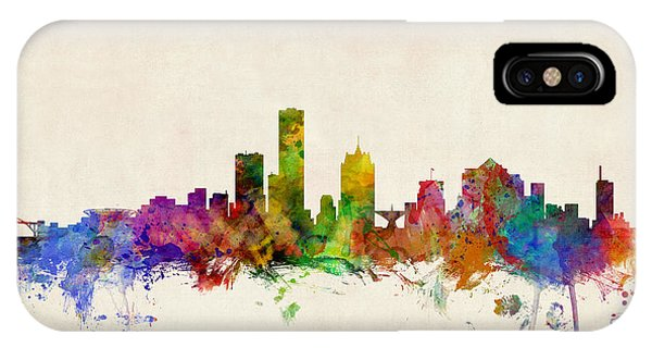 Watercolour iPhone Case - Milwaukee Wisconsin Skyline by Michael Tompsett