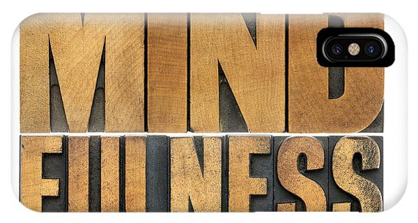 Mindfulness Word In Wood Type IPhone Case