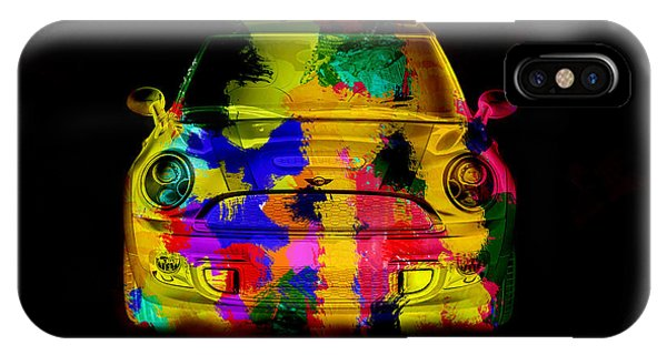 Mini Cooper Colorful Abstract On Black IPhone Case