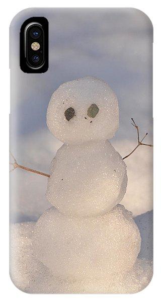 Miniature Snowman Portrait Phone Case by Nancy Landry