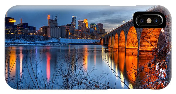 Minneapolis Skyline Images Stone Arch Bridge Spring Evening IPhone Case