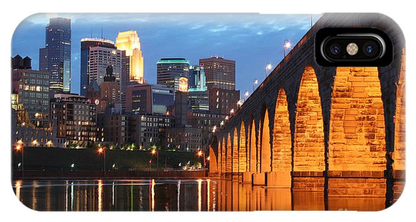 Building iPhone Case - Minneapolis Skyline Photography Stone Arch Bridge by Wayne Moran